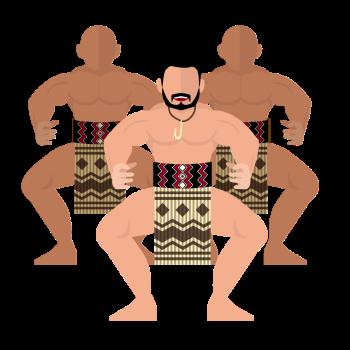 マオリ族がハカを踊るイラスト画像