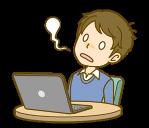 パソコンが故障して困る男性のイラスト画像