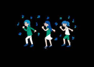 tiktokを踊る女性のイラスト画像