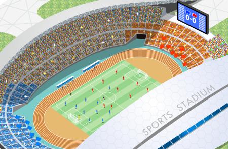 サッカー専用スタジアムのイラスト画像