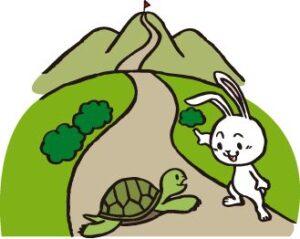 ウサギとカメのイラスト画像