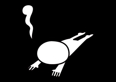 うつぶせの棒人間のイラスト画像