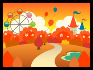 夕暮れの遊園地のイラスト画像