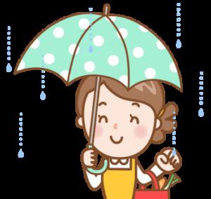 雨の日の買い物のイラスト画像