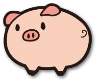 まん丸の豚のイラスト画像