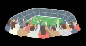 サッカースタジアムのイラスト画像
