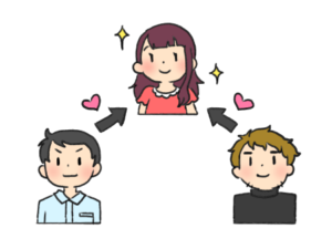 三角関係のイラスト画像