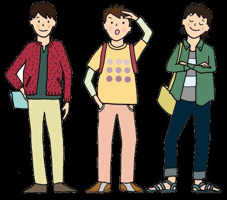 3人組青年のイラスト画像